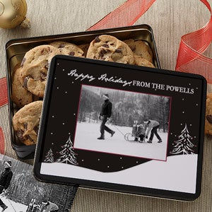 Personalized Photo Cookie Tins - Winter Snowscape - 7578