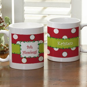 Polka Dot Personalized Christmas Holiday Coffee Mug - 7605