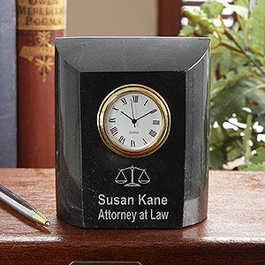 Personalized Attorney At Law Marble Desk Clock - 7611