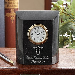 Personalized Medical Doctor Marble Desk Clock - 7612