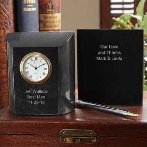 Personalization Mall Personalized Groomsman Gifts - Marble Desk Clock at Sears.com