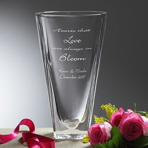 Personalized Crystal Flower Vase - Love In Bloom - 7615