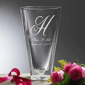 Engraved Crystal Flower Vase - Monogram & Names - 7618