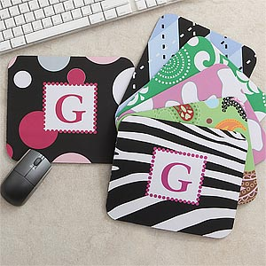 Personalized Mouse Pads for Girls - Zebra, Polka Dots, Argyle, Giraffe, Paisley, Rings - 7619