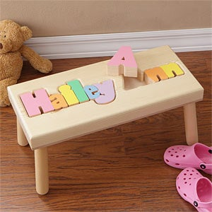Personalized Wood Name Puzzle Stool - 7622D