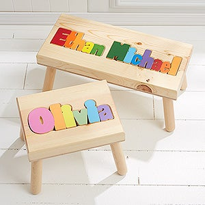 personalized wood name puzzle stool