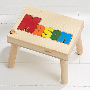 Personalized Wood Name Puzzle Stool - 7622D : wooden step stool for kids personalized - islam-shia.org