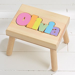 Magnificent Girls Personalized Name Puzzle Stool Small Gmtry Best Dining Table And Chair Ideas Images Gmtryco