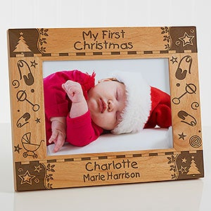 my first christmas personalized baby picture frame 7625