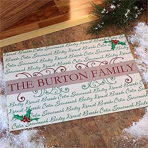 Personalized Holiday Doormats - Family Is Forever - 7626