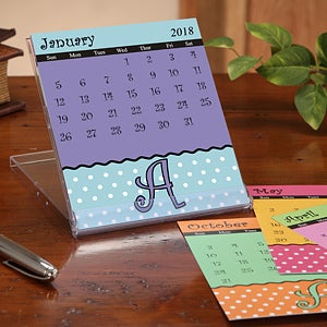 Initial Monogram Personalized Desk Calendar - Dot to Dot - 7635