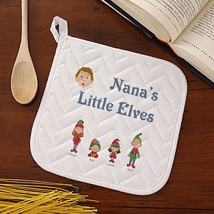Personalized Holiday Aprons & Potholders - Winter Family Characters - 7650