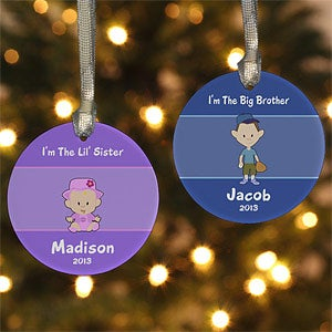 Personalized Brother or Sister Cartoon Character Christmas Ornament - 7655