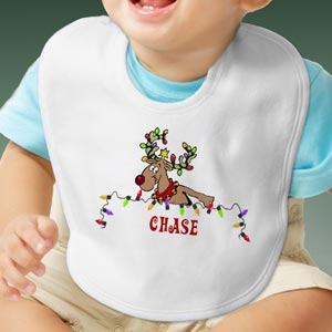 Personalization Mall Personalized Christmas Baby Bib - Festive Reindeer at Sears.com