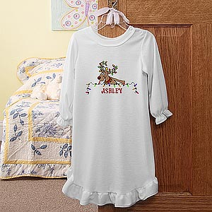 Personalization Mall Personalized Girls Christmas Nightgown - Festive Reindeer at Sears.com