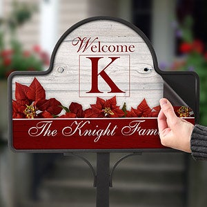 Personalized Holiday Yard Stakes - Christmas Poinsettias - 7661