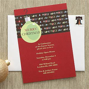 Personalization Mall Personalized Christmas Party Invitations - Peace, Love, Joy at Sears.com
