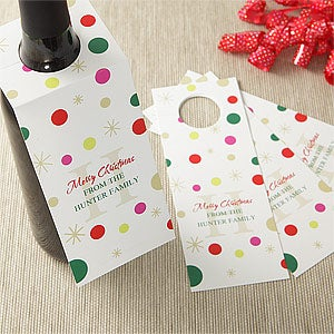 Personalized Wine Bottle Tags - Holiday Monogram - 7739