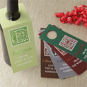 Personalized Wine Bottle Gift Tags - Floral Monogram - 7743