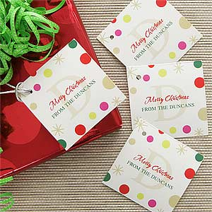 Personalized Gift Tags - Festive Monogram - 7747