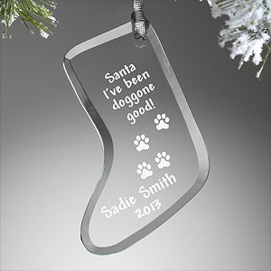Personalized Pet Christmas Stocking Christmas Ornament - Dear Santa - 7759