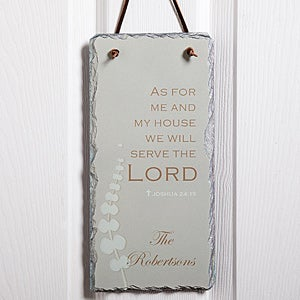 Personalized Christian Wall Plaque - We Will Serve The Lord Slate Sign - 7775