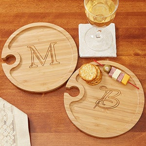Personalized Bamboo Cocktail Party Plates with Monogram - 7786