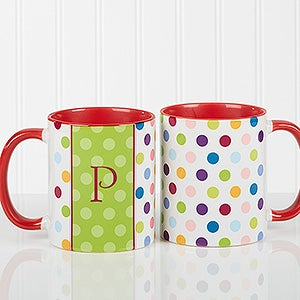Polka Dot Personalized Coffee Mugs - 7799