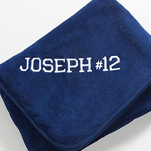 Personalization Mall Personalized Fleece Navy Blue Blanket - Game Day at Sears.com