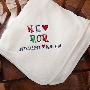 Personalization Mall Mother's Day Gifts -  Personalized White Fleece Blanket - We Love You at Sears.com