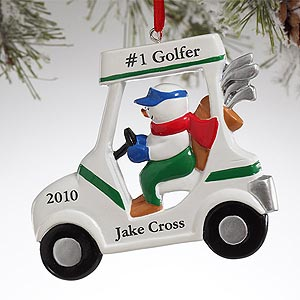 Personalization Mall Personalized Snowman Golf Cart Christmas Ornaments at Sears.com