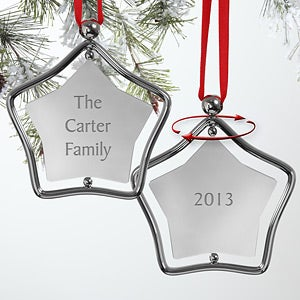 Personalized Silver Star Family Christmas Ornament - 7856