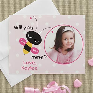 Personalized Photo Valentine's Day Cards for Kids - Bee Mine - 7881