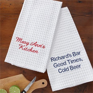 Personalized Kitchen Towels - Embroidered Name - 7884