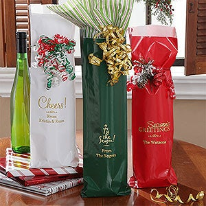 Personalized Christmas Wine Bags - 7927