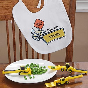 Construction Worker Personalized Baby Bib & Utensil Set - 7936