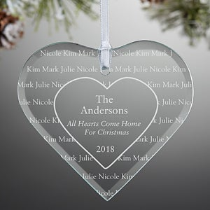 Engraved Christmas Ornaments - Hearts Come Home Glass Heart - 7937