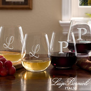 Personalized Stemless Wine Glasses with Initial Monogram - 7943N