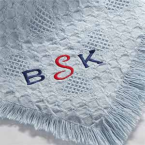 Personalization Mall Personalized Blue Baby Blankets with Embroidered Monogram at Sears.com