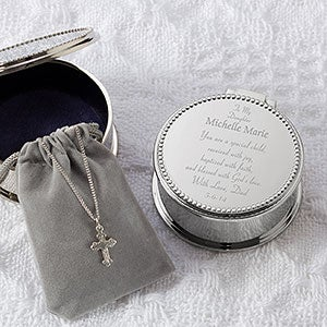 Personalized Baby's First Cross Necklace & Keepsake Box - 7953