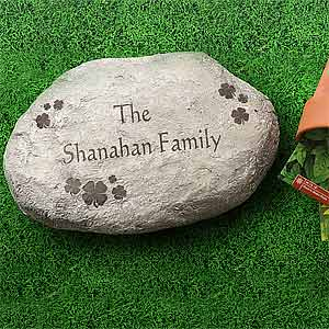 Personalized Garden Stepping Stones - Irish Shamrocks - 7966
