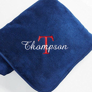 Personalized Fleece Blanket with Name & Monogram - 7969