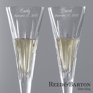 Personalized Crystal Champagne Flutes by Reed & Barton - 7979