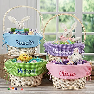 Kids personalized easter baskets buy personalized easter baskets for kids add any name to be embroidered on the basket liner in your choice of colors fonts our beautiful willow easter negle Image collections