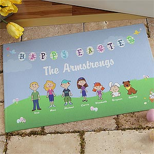 Personalized Holiday Doormats - Easter Family Characters - 7988