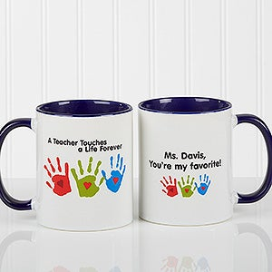 Personalized Teacher Coffee Mug Kids Handprints 8027