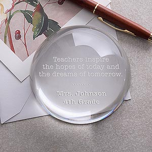 Personalized Teacher Paperweight - Inspirational Quotes