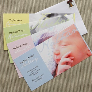 Personalized Photo Birth Announcements - Welcomed With Love - 8063