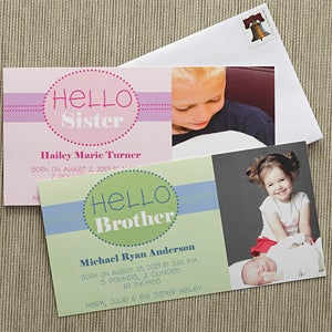 Photo Baby Birth Announcements - Hello Brother, Hello Sister - 8066