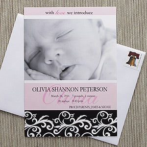 Personalized Baby Photo Birth Announcements - Little Darling - 8084
